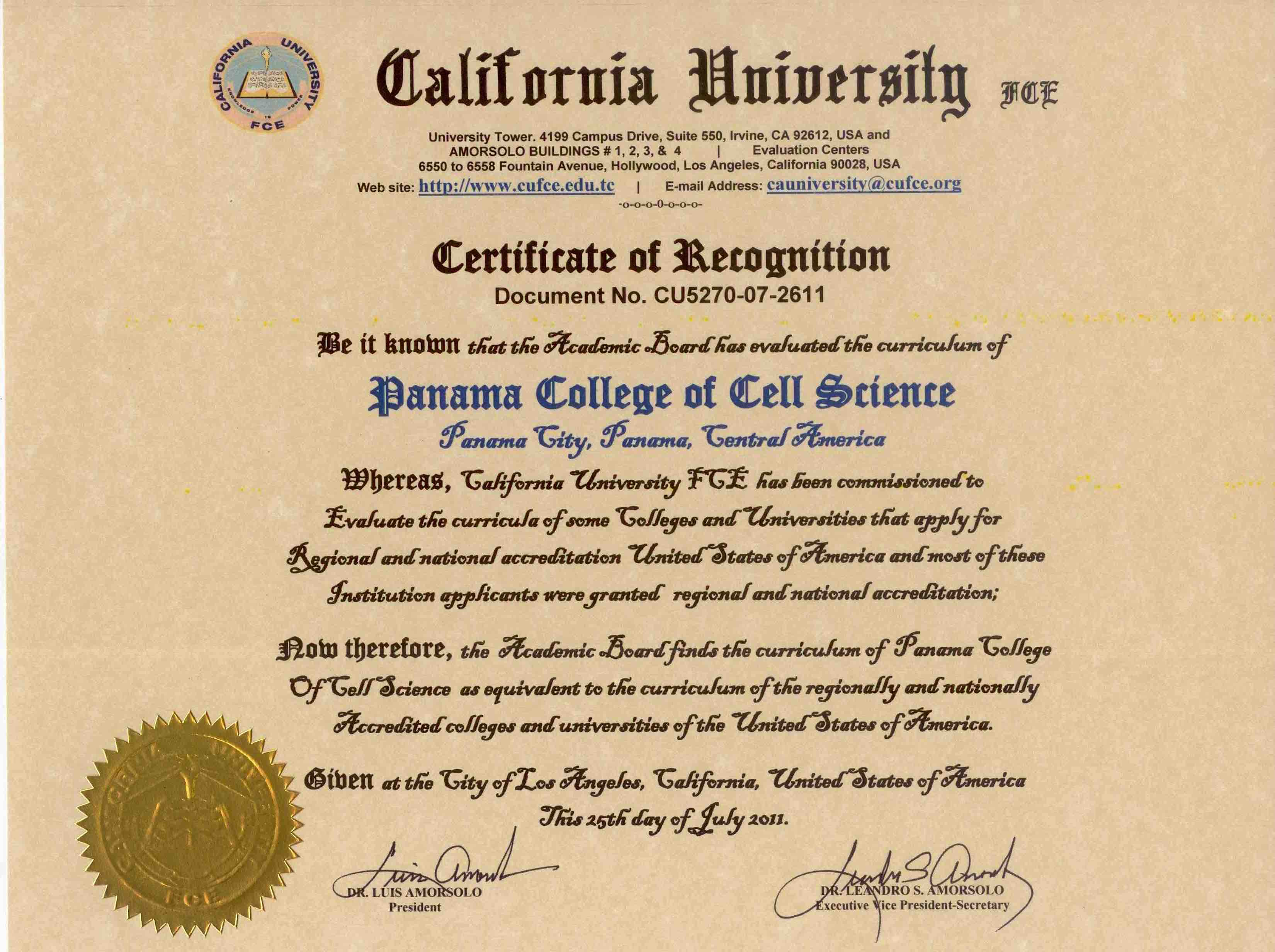 Panama College of Cell Science | 3 Year Online PhD Degree in
