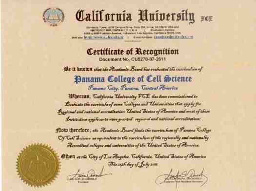 Panama College of Cell Science Certificate of Equivalency to regionally accredited US college or university
